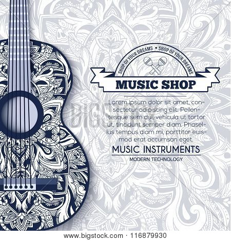 Abstract retro music guitar on blue floral background of the ornament concept. Art decorative, Islam