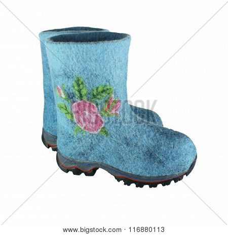 handmade wool women's winter boots isolated on white background