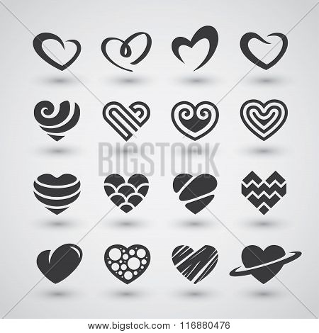Black Hearts Icons Set