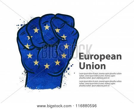 fist.  flag european union, europe. vector illustration