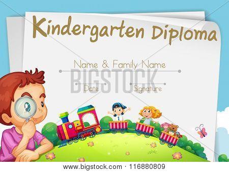 Diploma template for kindergarten students illustration