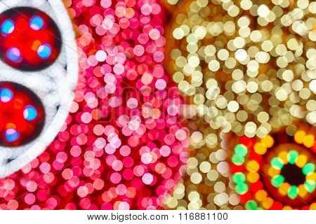 Christmas Decoration Background City Lights In Circles