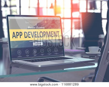 App Development Concept on Laptop Screen.