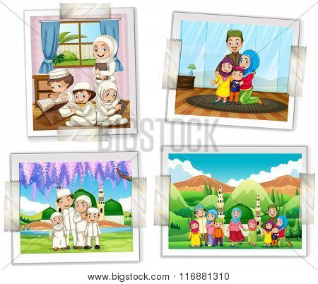 Four photo frames of muslim family illustration