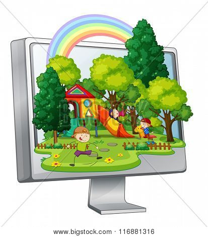 Children playing in the playground on computer screen illustration