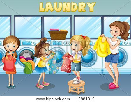 Children doing laundry together illustration