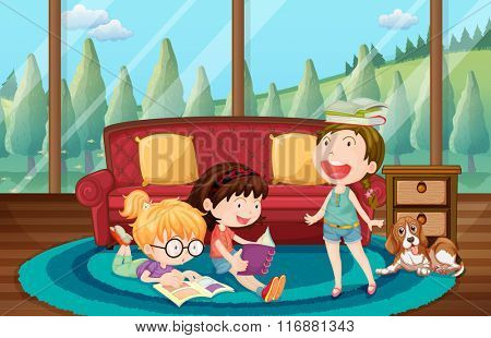 Three girls reading book in the living room illustration