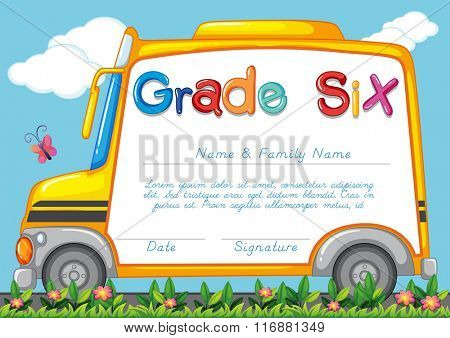 Diploma template for students grade six illustration