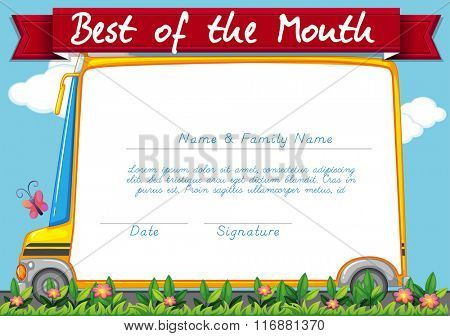 Certificate template with schoolbus background illustration