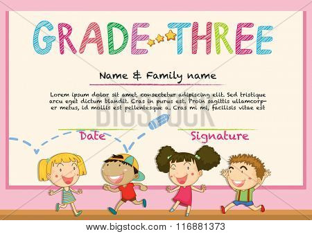 Certificate for grade three students illustration