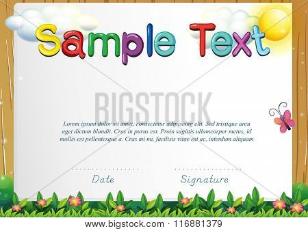 Certificate template with butterfly in the garden illustration
