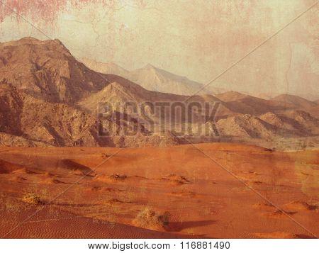 Desert landscape in Dubai - barren land - nature background in grunge style