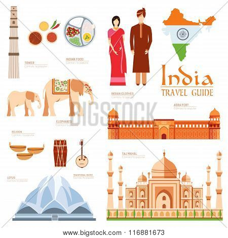 Country India travel vacation guide of goods, places and features. Set of architecture, fashion, peo