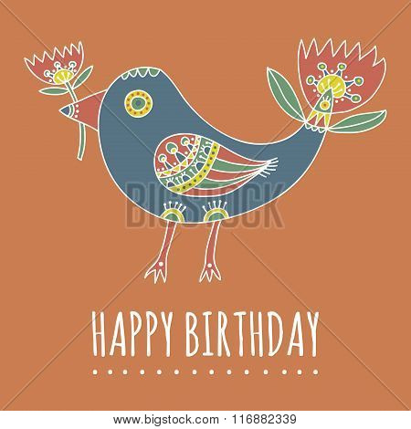 Happy Birthday greeting card. Hand drawn fantastic bird with tulip-like tail and a tulip in her beak