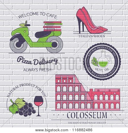 Italy country set label. Template of emblem element for your product or design, web and mobile appli