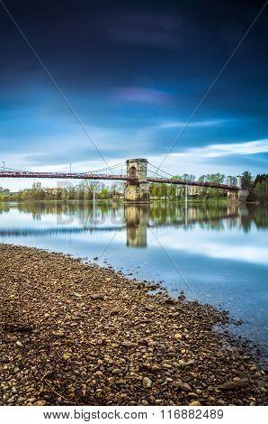 Bridge And River Of Saone Next Lyon City