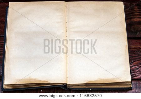 Open Book blank on old wood background