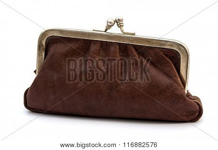 Old vintage leather purse isolated on white background