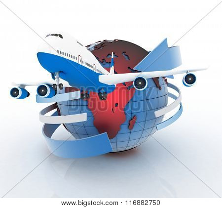Airliner with a globe in the white background