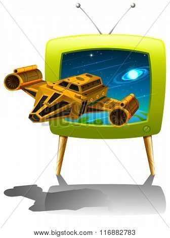 Television screen with spaceship flying in the space illustration