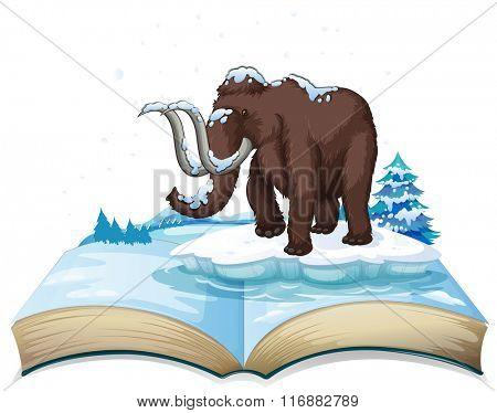 Book of mammoth on iceberg illustration