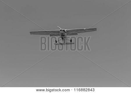 Plane Light Aircraft Flying Black White