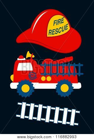 Fire Rescue With Red Helmet And Truck