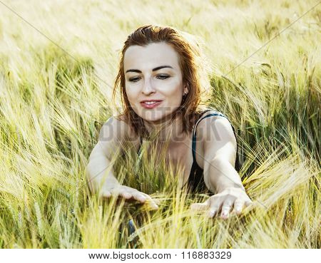 Lovely Woman In The Wheat Cobs By Sunset, Natural Beauty