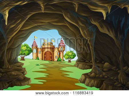 Far away kingdom with castle and cave illustration