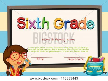 Diploma template with little girl and schoolbag illustration