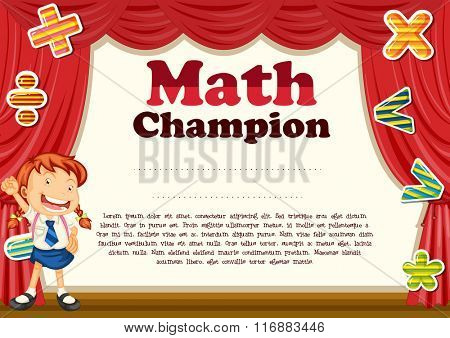 Certification with girl and math theme illustration