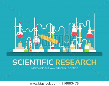Scientific research in flat design background concept. laboratory equipment supplies with chemistry