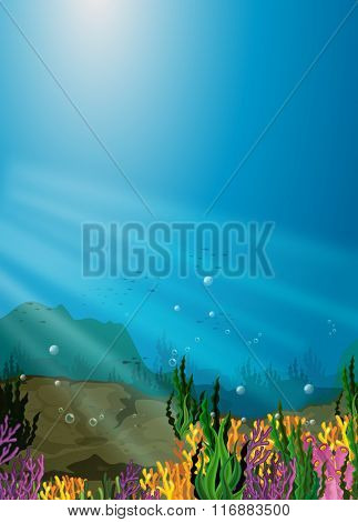 Nature scene under the sea with coral reef illustration