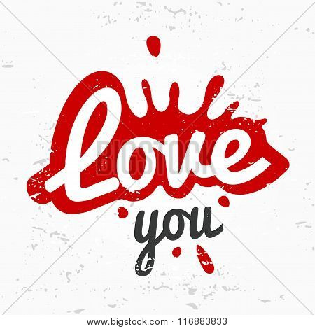 Splash shape symbol logo concept. love you lettering in ink drop vector design. Valentine or wedding
