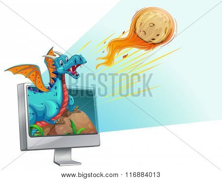 Computer screen with dragon and comet illustration