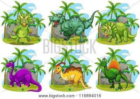 Six dinosaurs in the forest illustration