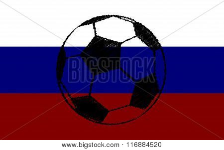 Soccer Ball On The Flag Of Russia
