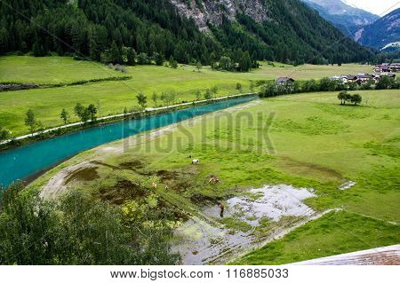 Mountain River. Alpine View