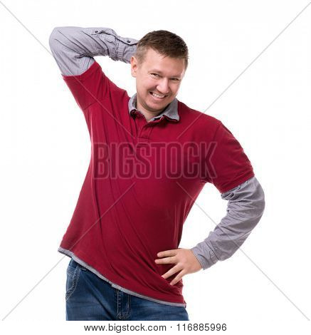smiling man funny posing at the camera isolated on white background