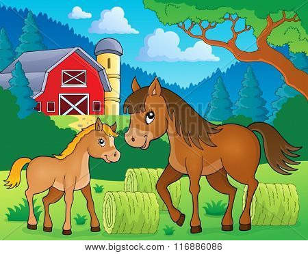 Horse with foal theme image 3 - eps10 vector illustration.