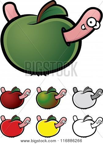 Cartoon illustration of worm eating apple