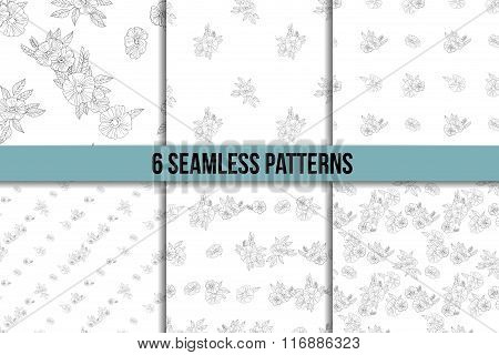 set of six black and white floral patterns