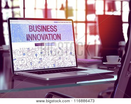 Laptop Screen with Business Innovation Concept.