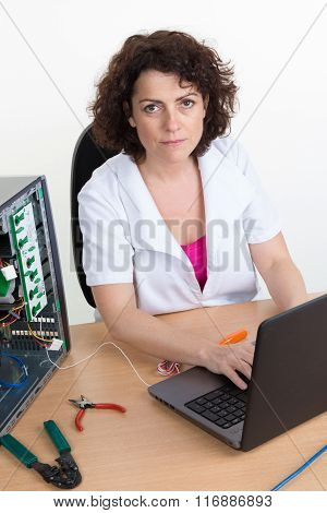 Pc Engineer Repairing Computer At Customer Place