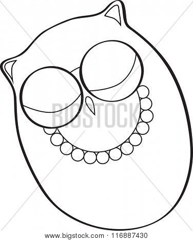 Cute vector sleeping owl in outline form for coloring