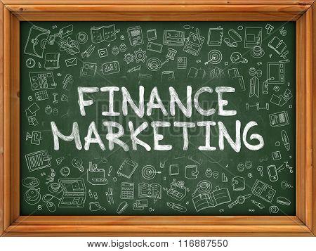 Finance Marketing - Hand Drawn on Green Chalkboard.