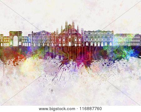 Milan Skyline In Watercolor Background