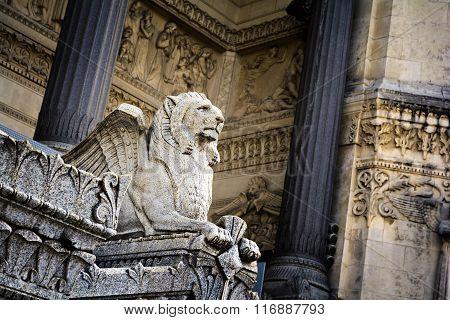 Statue of a lion at Lyon city, France