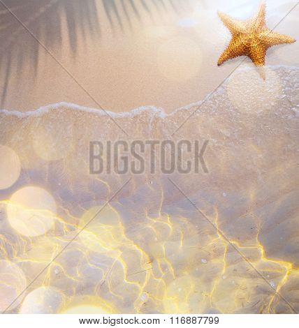 Art Summer Tropical Beach Background