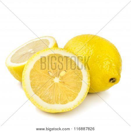 Ripe lemons. Isolated on white background